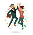 business couple jumping man and woman vector image vector image
