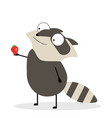 cartoon racoon holding strawberry vector image