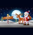 cartoon santa claus and deer standing in the snow vector image
