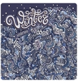 cartoon winter town greeting card vector image