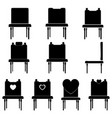 chairs set icons black color vector image