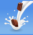 chocolate in milk splash vector image vector image