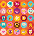 circles pattern cute kittens hearts flowers clouds vector image