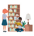 couple in the library avatar character vector image