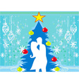 Couple kissing by a Christmas tree vector image