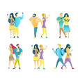 couples using mobile phones flat isolated vector image vector image