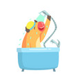 cute cartoon cow taking a shower in a bathtub vector image vector image