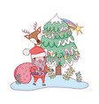 cute christmas santa claus with bag and deer vector image vector image
