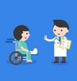 doctor and broken leg patient in wheelchair flat vector image vector image