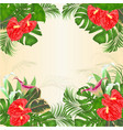 floral frame background with blooming lilies vector image vector image
