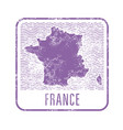 france travel stamp with silhouette map of vector image vector image