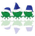 frog with blue christmas hat vector image vector image