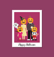 halloween family image on polaroid photo frame vector image vector image
