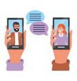 hands holding smartphone tech vector image