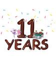 happy 11th birthday vector image