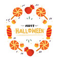 happy halloween candy dessert bag frame ima vector image