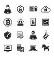 Internet Security Black White Icons Set vector image vector image