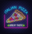 italian pizza - neon sign on brick wall background vector image vector image