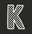 K alphabet letter with white polka dots on black vector image vector image