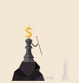 king of chess and dollars icon stand on the top vector image vector image