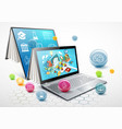 laptop as a book the concept of learning vector image vector image