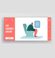 man sitting in air plane travel flight website vector image vector image