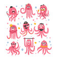 octopus emoticon icons with funny cute cartoon vector image vector image