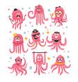 octopus emoticon icons with funny cute cartoon vector image vector image