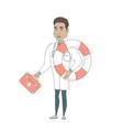 paramedic holding first aid box and lifebuoy vector image vector image