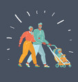 parents pram with a baby vector image vector image