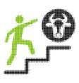 person climbing to cow halftone icon vector image vector image