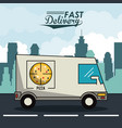 poster city landscape with fast delivery in pizza vector image