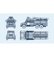 red fire engine top front side back view line vector image vector image
