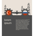 Russia and Turkey flags on gears vector image vector image
