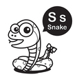 S Snake cartoon and alphabet for children to vector image vector image