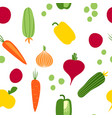 seamless pattern with root vegetables in flat syle vector image