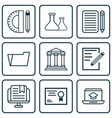 set of 9 school icons includes home work college vector image vector image