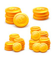 set stacks coins on white background vector image vector image