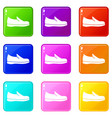 shoes icons 9 set vector image vector image