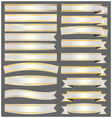 Silver ribbons and banners with gold vector image vector image