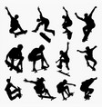 skate board 2 silhouettes vector image vector image