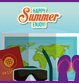 summer enjoy beach with icons vector image