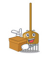 with box cartoon rake leaves with wooden stick vector image vector image
