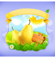 Yellow pear label design vector image vector image