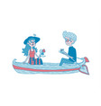 young couple sailing on a boat dating vector image vector image