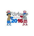 Vote 2016 Donkey Boxer and Elephant Mascot Cartoon vector image