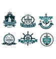 Blue nautical and sailing themed banners or icons vector image
