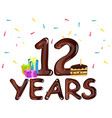 12th year anniversary celebration design with vector image vector image