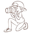 A plain drawing of a photographer vector image