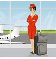 asian air hostess posing with luggage vector image vector image